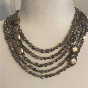 Beautiful 5-strand Labradorite necklace with SS